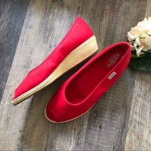 Keen   Red Corona Peep Toe Wedges